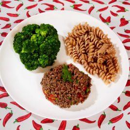 Carne Moída + Macarrão Integral + Brócolis