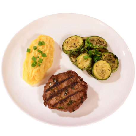 Hambúrguer de Carne + Purê de Batata + Abobrinha Italiana