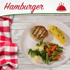 Hambúrguer de Frango + Purê de Mandioquinha + Mix de legumes