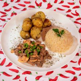 Strogonoff de Carne + Batata Sauteé + Arroz Integral