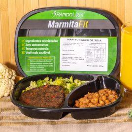 Hambúrguer de Soja + Arroz com Brócolis + Feijão