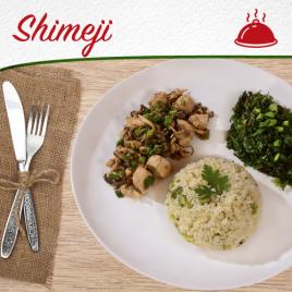 Frango com Shimeji + Arroz com Brócolis + Espinafre