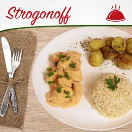 Strogonoff de Frango + Batata Sauteé + Arroz Integral